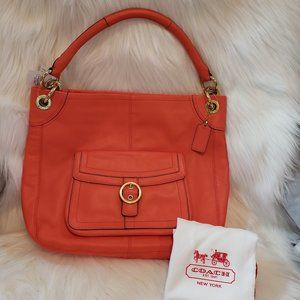 Sun Orange Coach Z Pen Leather Buckle Hobo